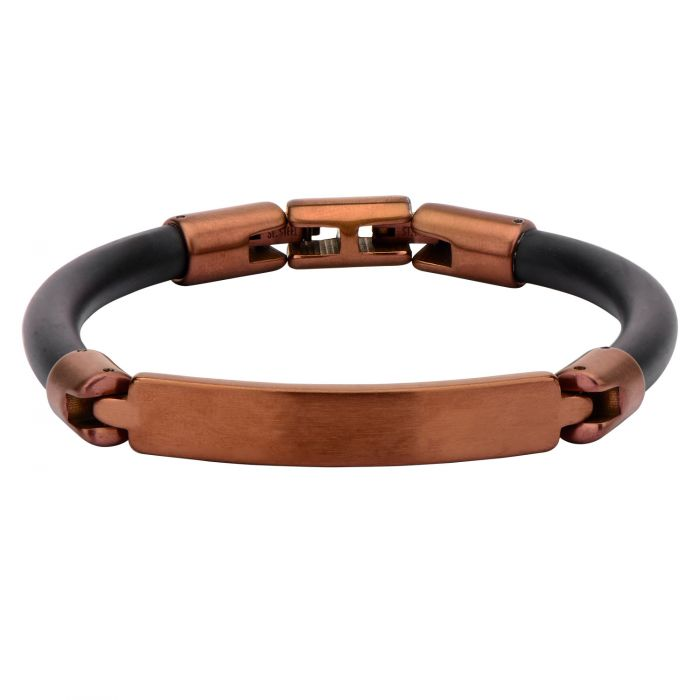 5ac7ff106 Stainless Steel Cappuccino Plated Rubber ID Bracelets for Men